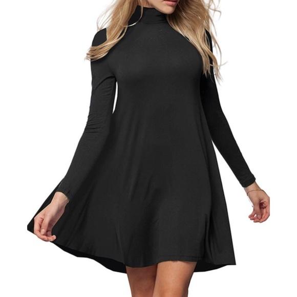 82b952f1e1e Black turtleneck swing dress. M 5b7cc48804ef504e5b7b099a